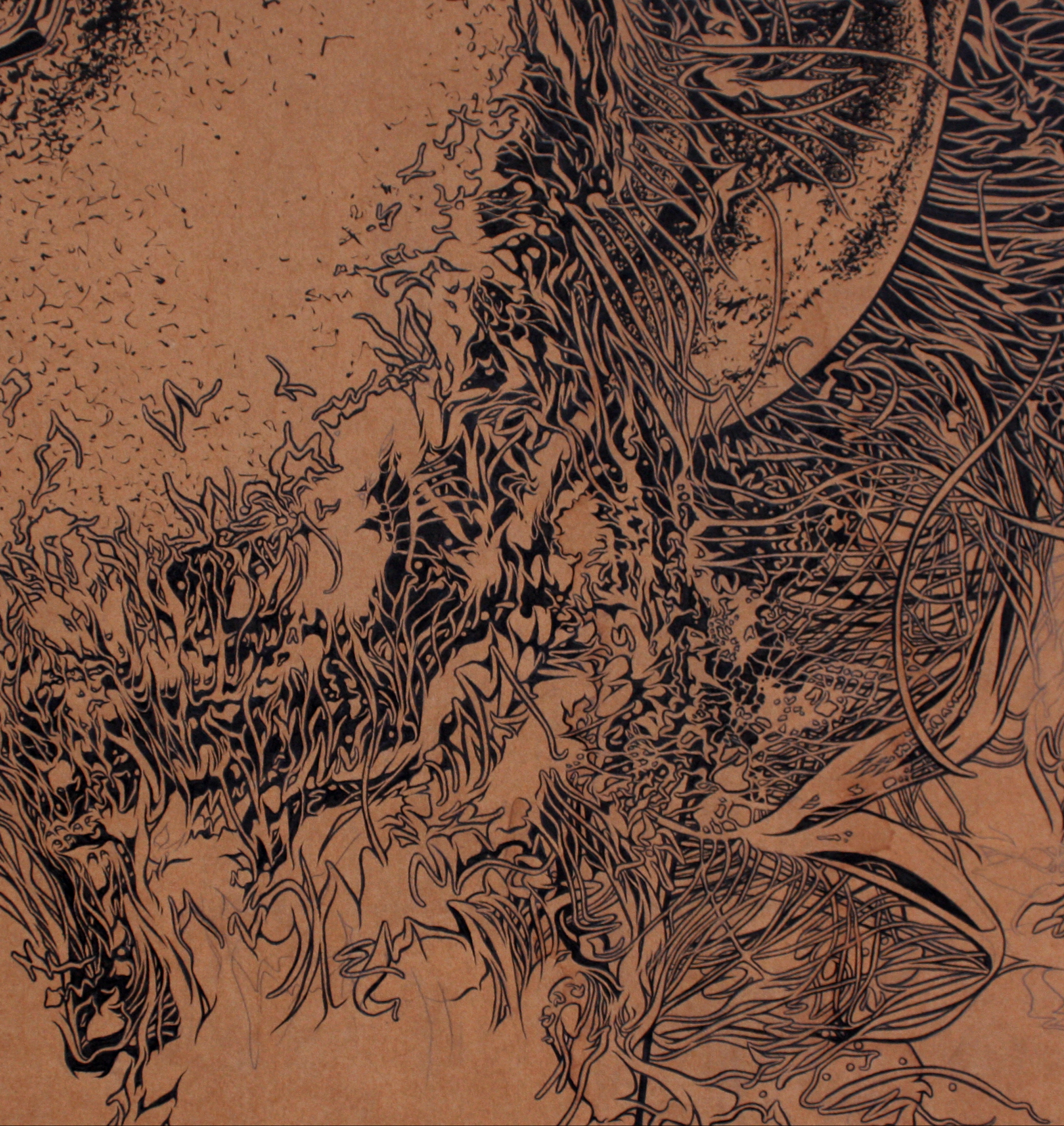 artwork by David Le Fleming, ink on board - thin thick thin technique