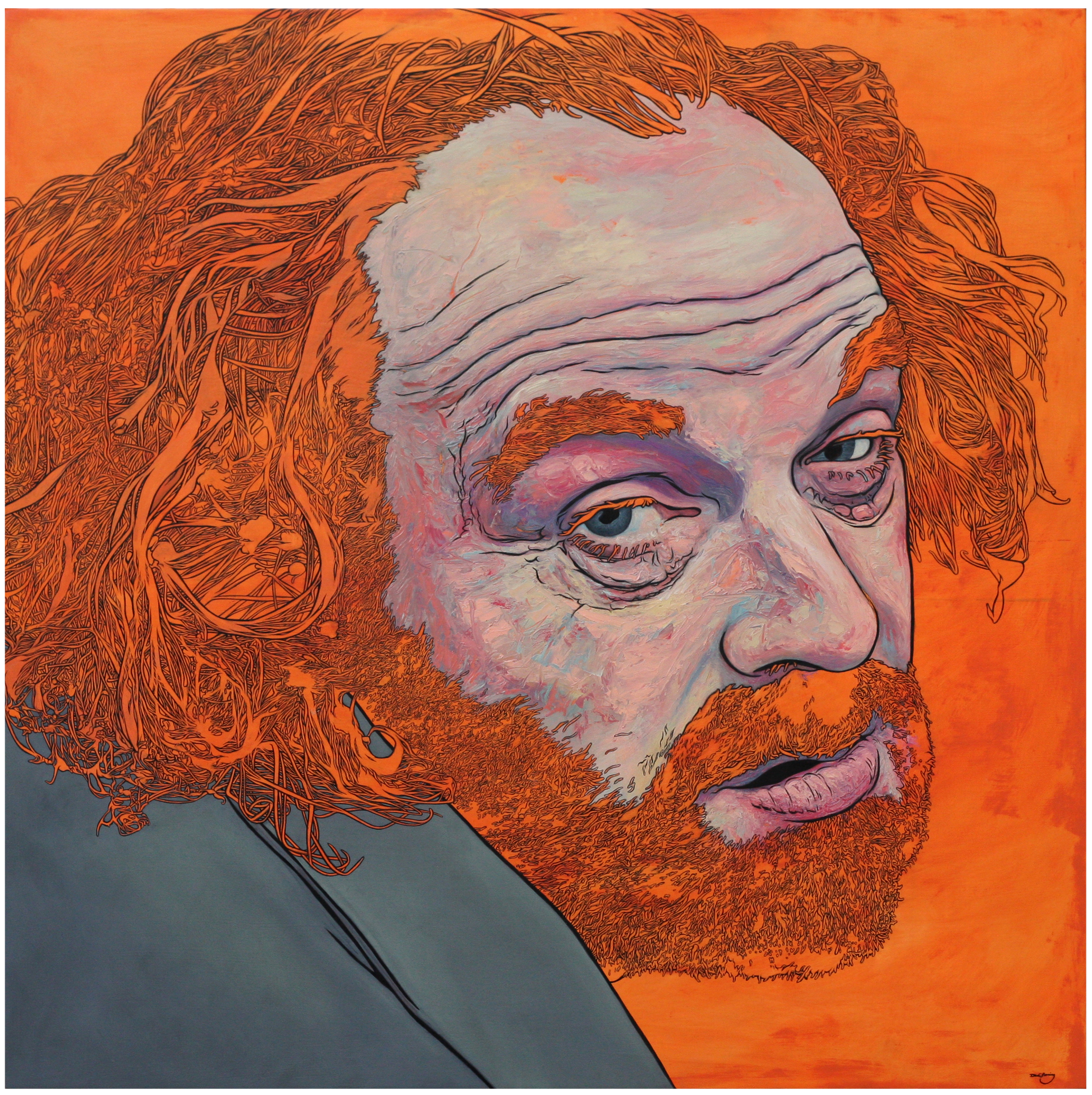 Painting by David Le Fleming of friend Barry Watson