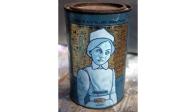 Nurse - oil on tin can