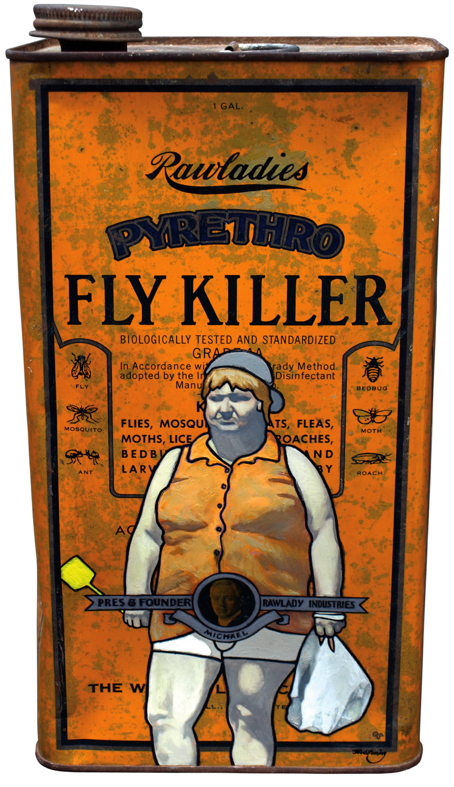 Fly Killer (2008) oil and eggshell on tin can by New Zealand artist David Le Fleming