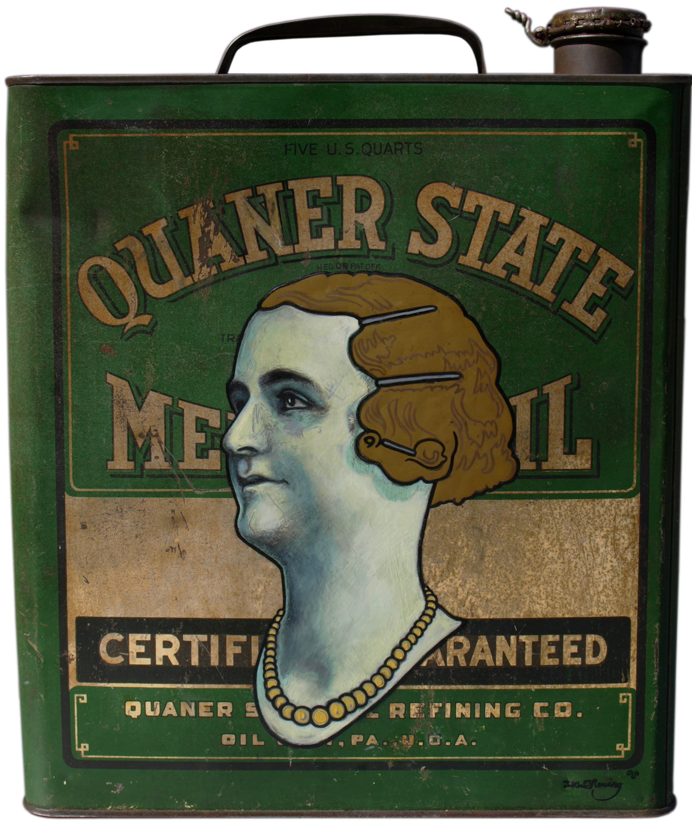Quaner State (2008) oil and eggshell on tin can - appropriation by David Le Fleming