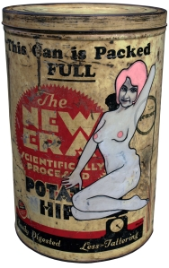 New Era Potato Hips (2008) oil and eggshell on tin can by New Zealand artist David Le Fleming