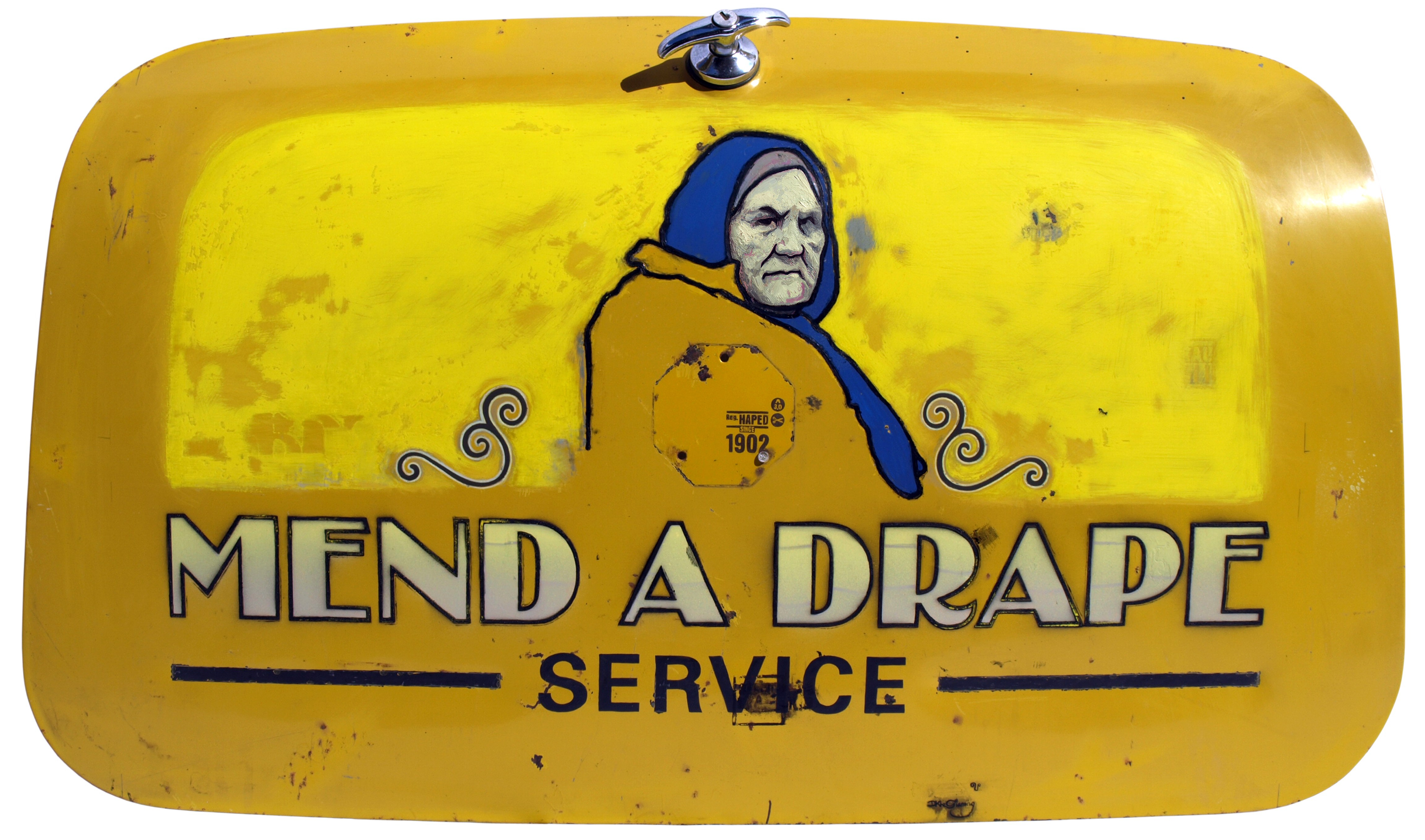 Mend a Drape (2008) oil and eggshell on car boot by New Zealand artist David Le Fleming