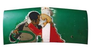 Courting the Spanda Flam - oil & enamel on van bonnet - 1220 x 520mm
