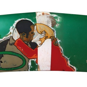 Courting the Spanda Flam - oil & enamel on van bonnet - 1220 x 520mm