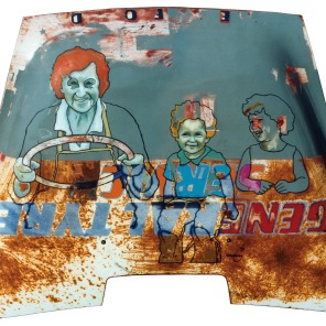Gene Service - oil & enamel on lorry bonnet - 1535 x 1110mm