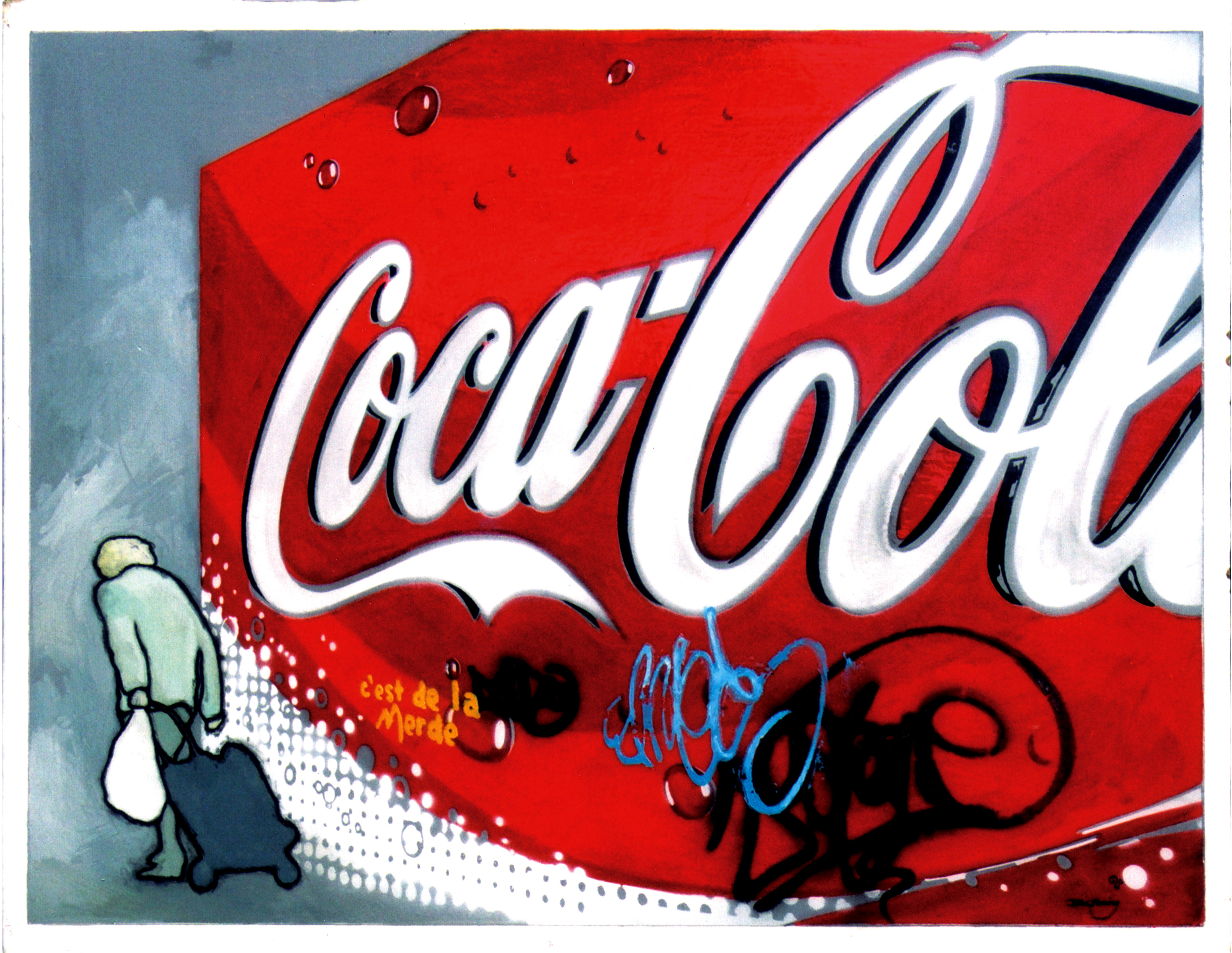 Painting of a Coca-cola billboard, with an elderly lady passing infront