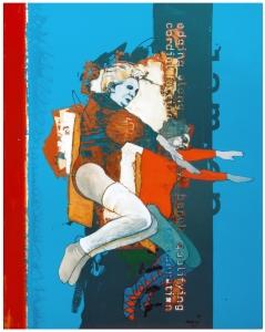 ladies levitating in leggings - cyan blue paint