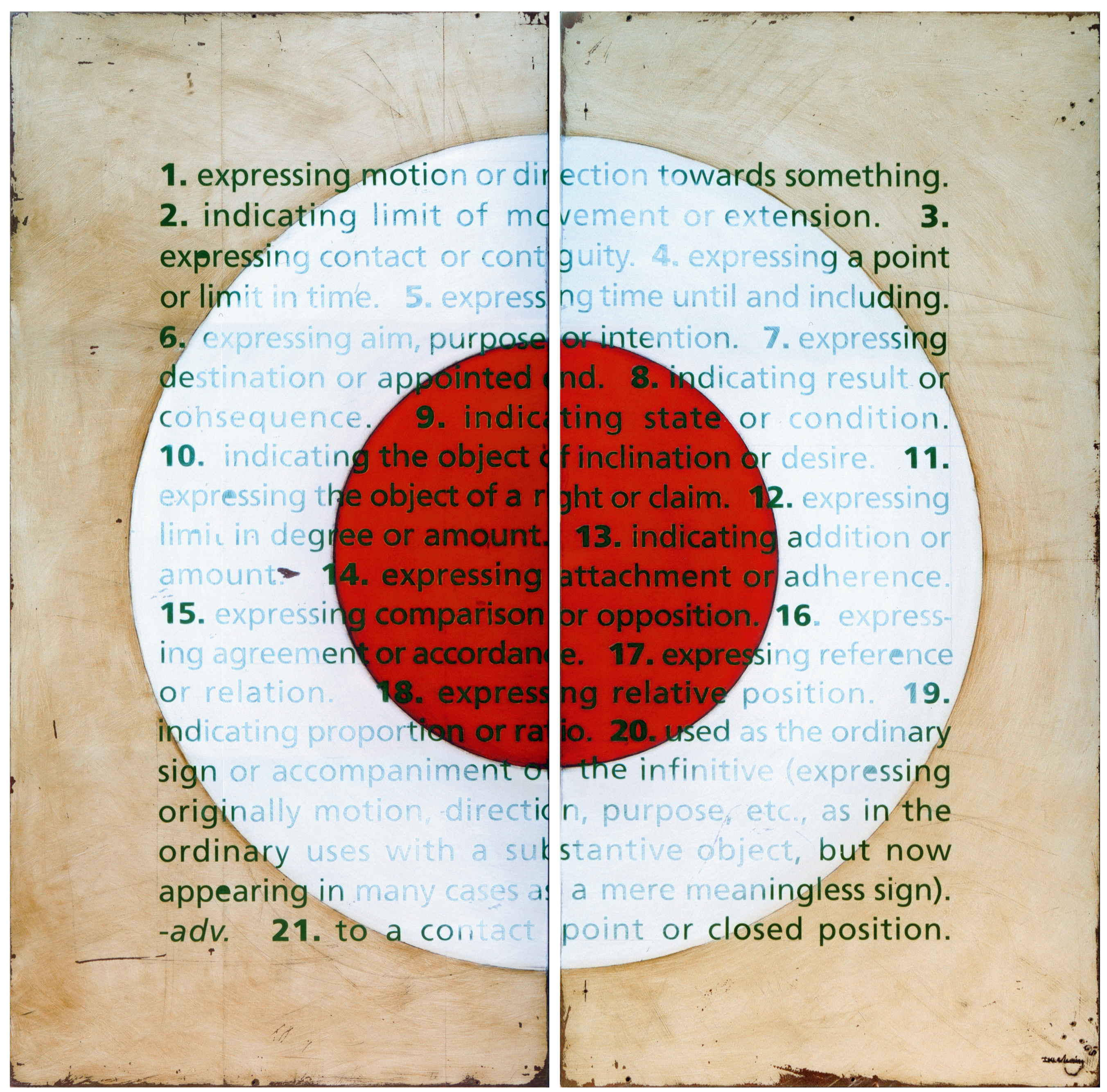 Dictionary definition of the word 'to' painted in a square grid over a red a white circle