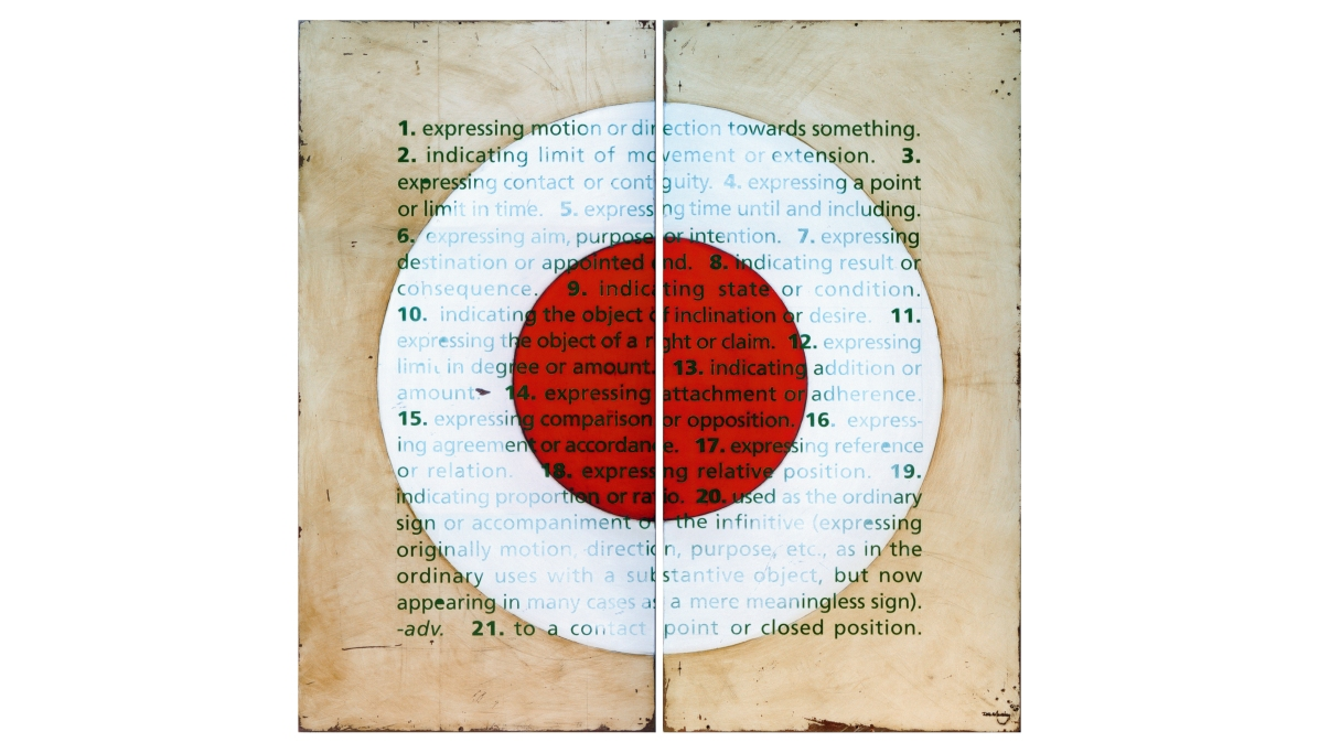 To a contact point or closed position - oil & enamel on fibreglass panels - diptych - 1210 x 1210mm