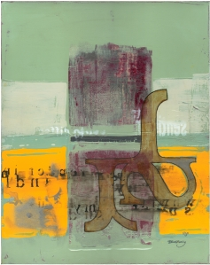 Typographic composition, oil painting by David Le Fleming.