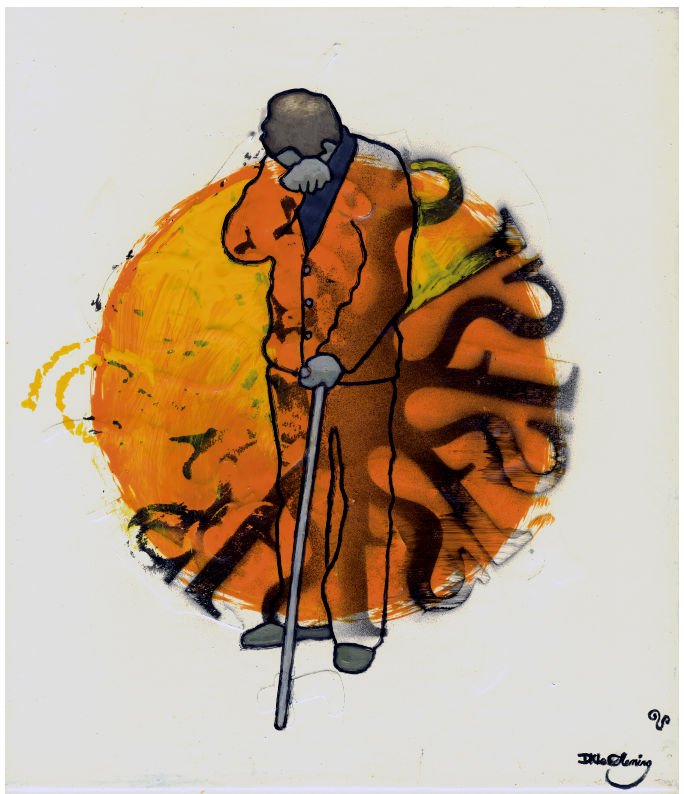 Painting by New Zealand painter David Le Fleming, of a man with walking stick, holding his hand up to his face