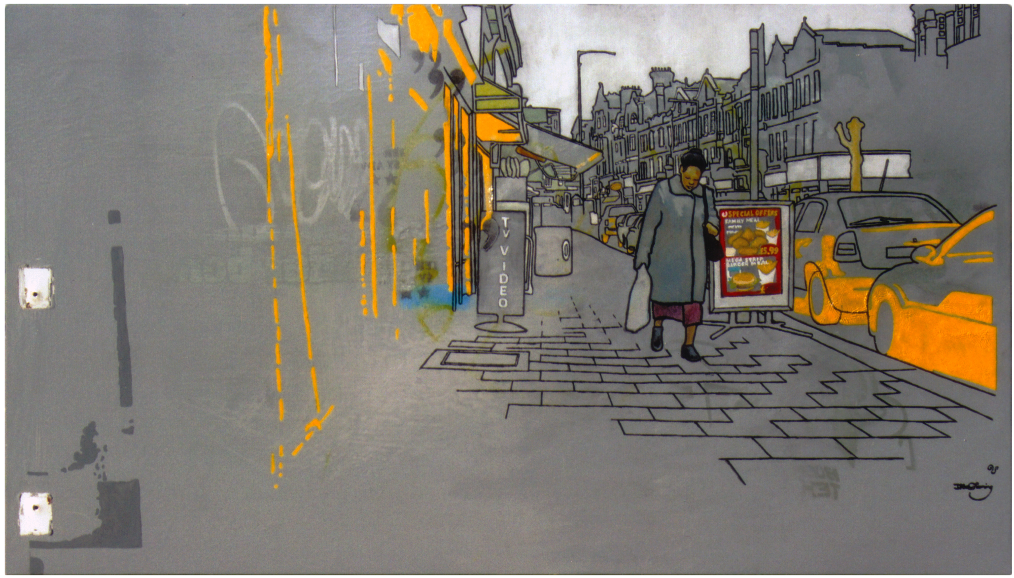 Painting by David Le Fleming, of a woman carrying a bag of groceries, walking down the road in Willesden Green