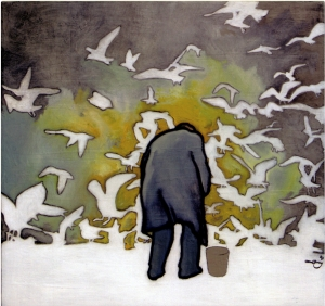 Painting by David Le Fleming, referenced from photo taken by Ed Van Der Elsken, Amsterdam, 1950