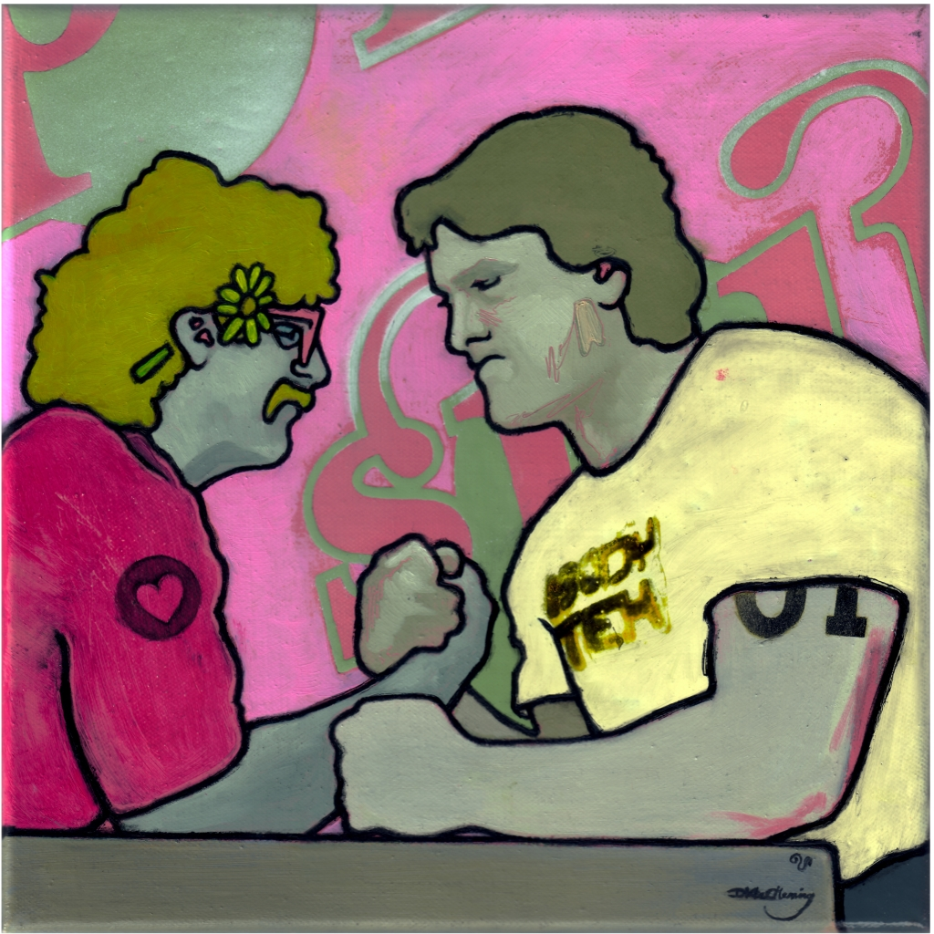 painting of two men arm wrestling, painted with a pink palet, one of the chaps has a flower behind ear and a heart enblazoned on shoulder