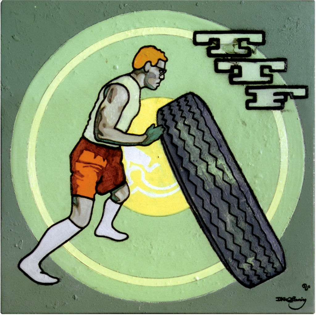 painting by David Le Fleming of a chap wrestling with a tyre