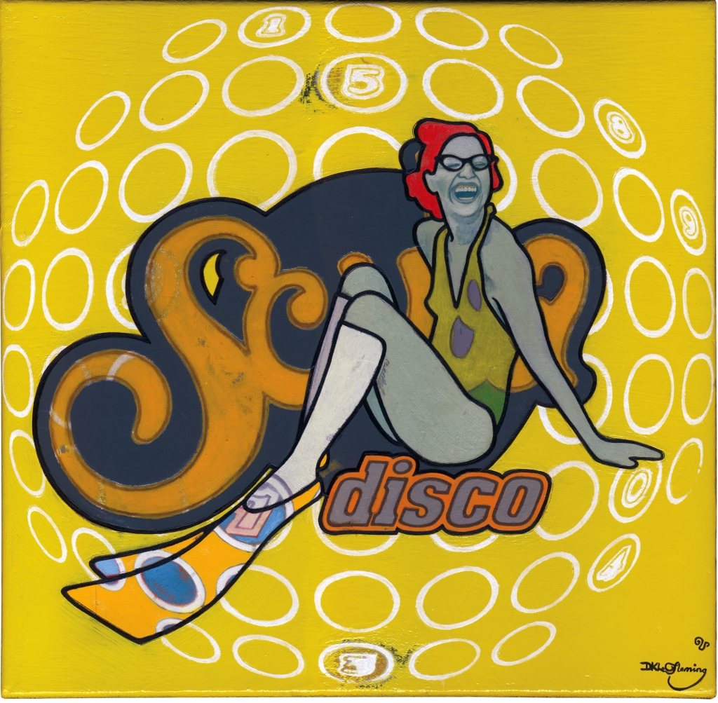 painting of a woman wearing swimsuit and flippers, a spherical graphic in the background with the words Scuba disco