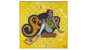 Scuba disco - oil & enamel on canvas - 340 x 305mm