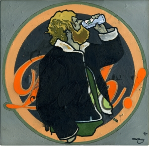painting of a bearded chap drinking a beer, wearing a wool lined leather jacket