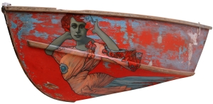 Painting by David Le Fleming on found wooden boat