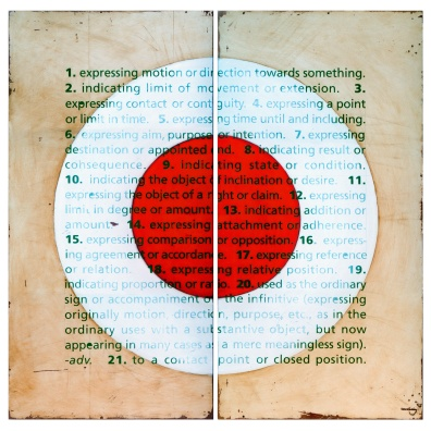 To a contact point or closed position (2002) – oil & enamel on fibreglass panels – diptych – 1210 x 1210mm