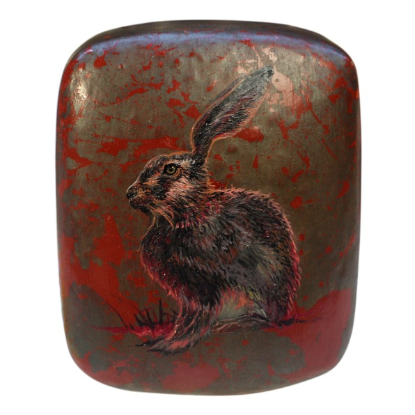 Blood Hare (2019) – oil on wooden box – 100 x 120 x 65mm
