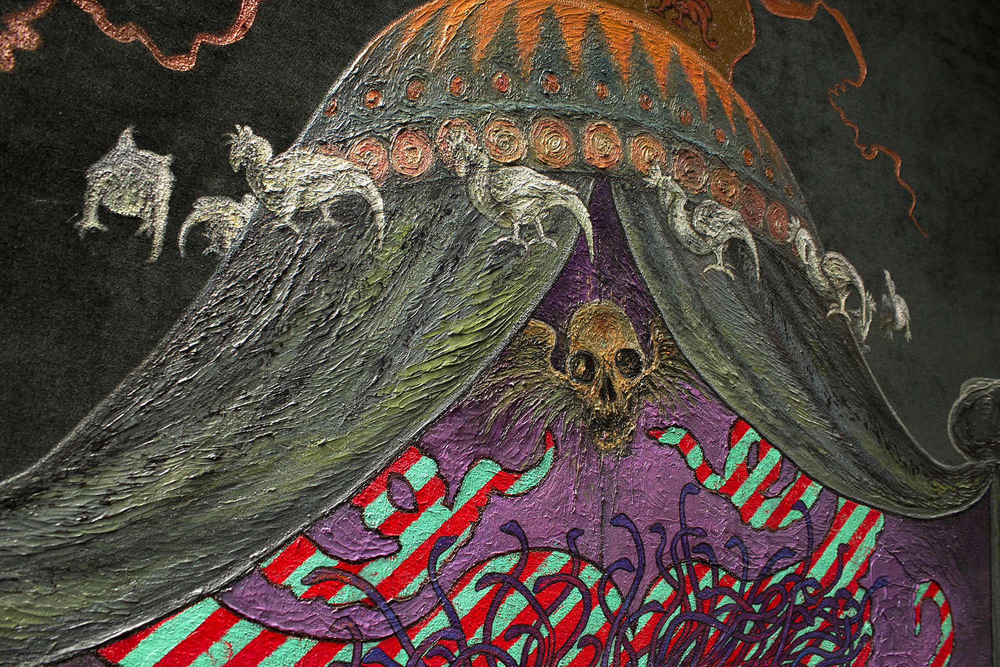 detail of 'The Purple Lodge' by David Le Fleming chicken dragon