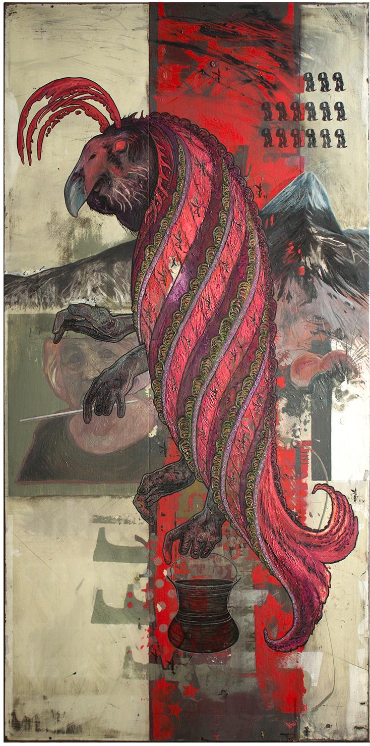 Night Parrot – Pocket Tickler oil on fiberglass panel by David Le Fleming