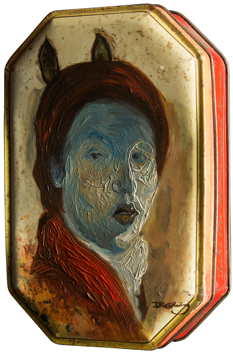 Ship inside this house you've made oil on tin can by David Le Fleming