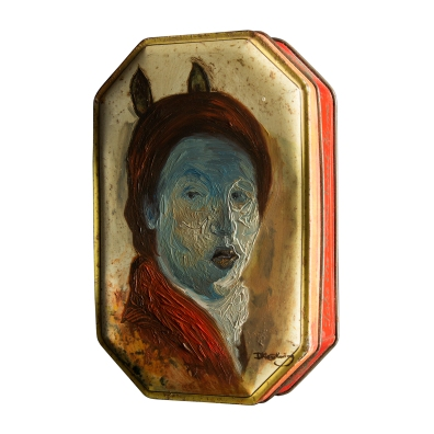 Ship inside this house you've made (2019) – oil on tin can – 145 x 100 x 35mm