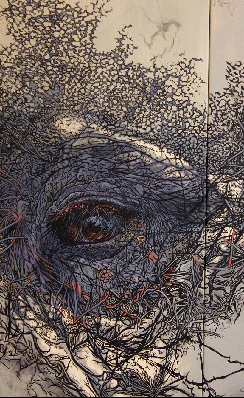 detail of Supernova Sam - oil painting by David Le Fleming - Original Myth 2018
