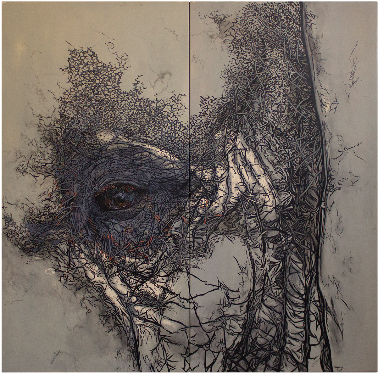 Supernova Sam – Lord of Mass oil on metal panels (diptych) - oil painting by David Le Fleming
