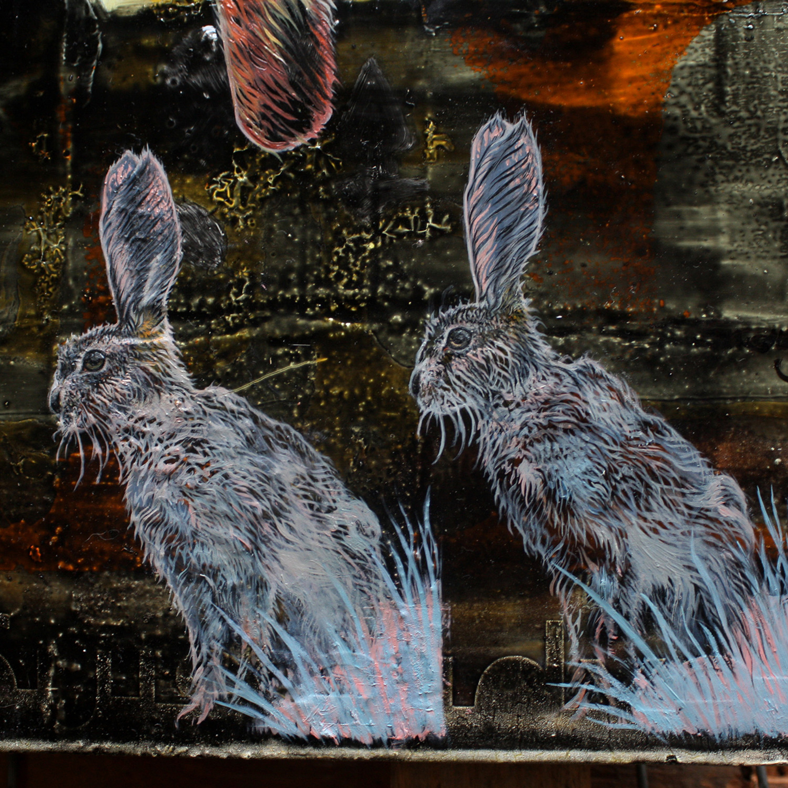 detail 'Three Step Perpendicular' - oil painting by David Le Fleming - two hares