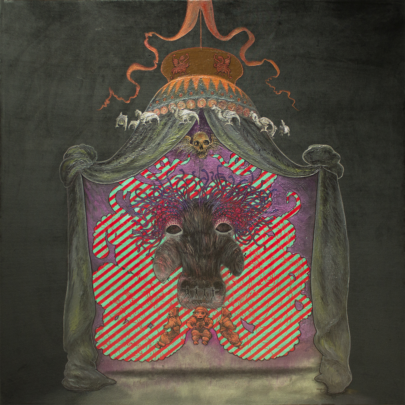 The Purple Lodge oil on stretched velvet 1520 x 1520mm