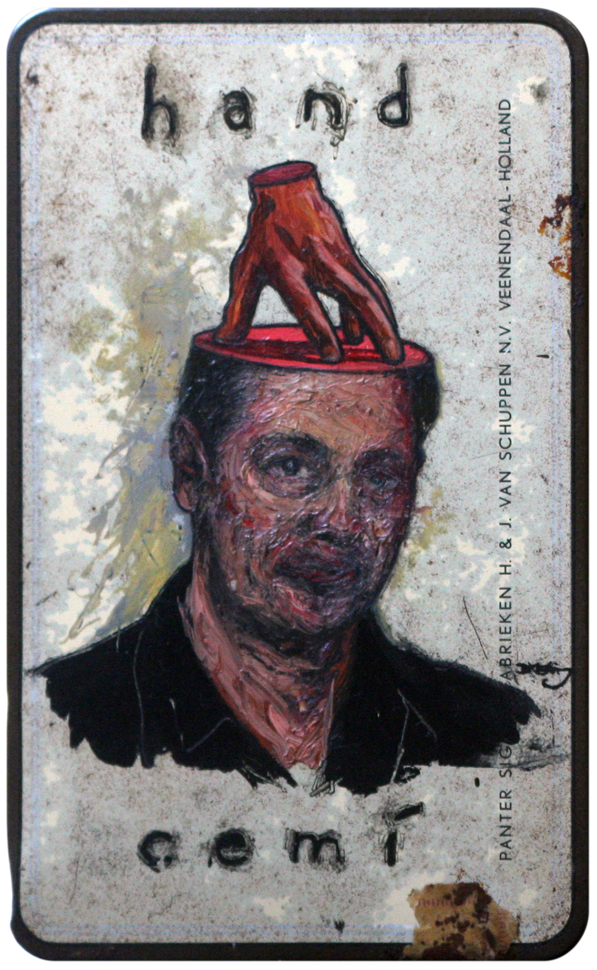 Painting of Steve Buscemi with a hand imposed standing atop